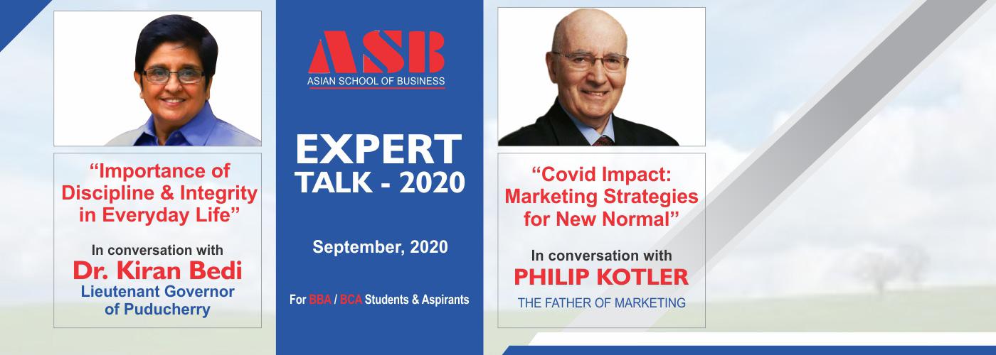 Dr. Kiran Bedi & Prof. Philip Kotler Webinar at ASB Noida