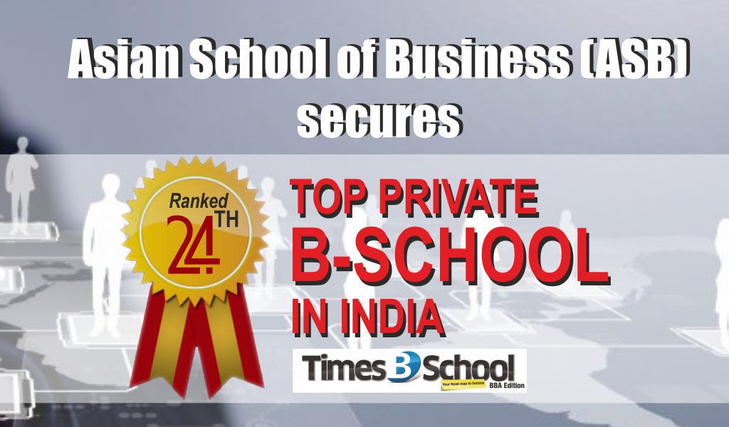 Asian School of Business (ASB) secures '24th Top Private B-School in India' ranking by 'Times B-School Survey 2019'!