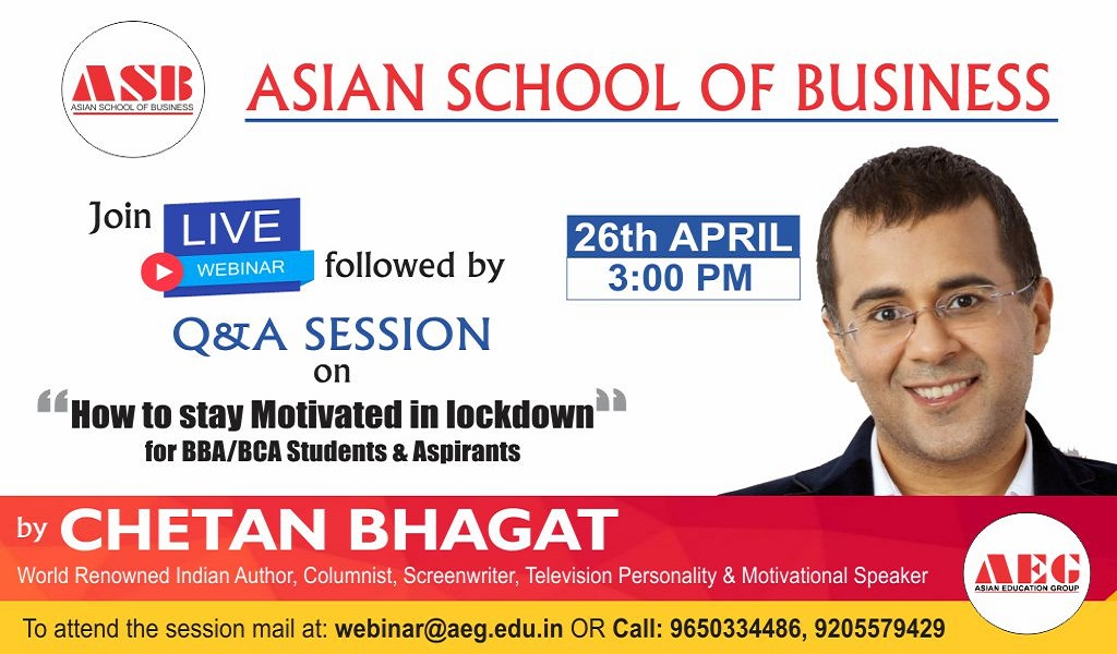 """AEG to organize a WEBINAR on """"HOW TO STAY MOTIVATED IN LOCKDOWN"""" For BBA/BCA Students and Aspirants by Renowned Indian author & motivational speaker, CHETAN BHAGAT!"""