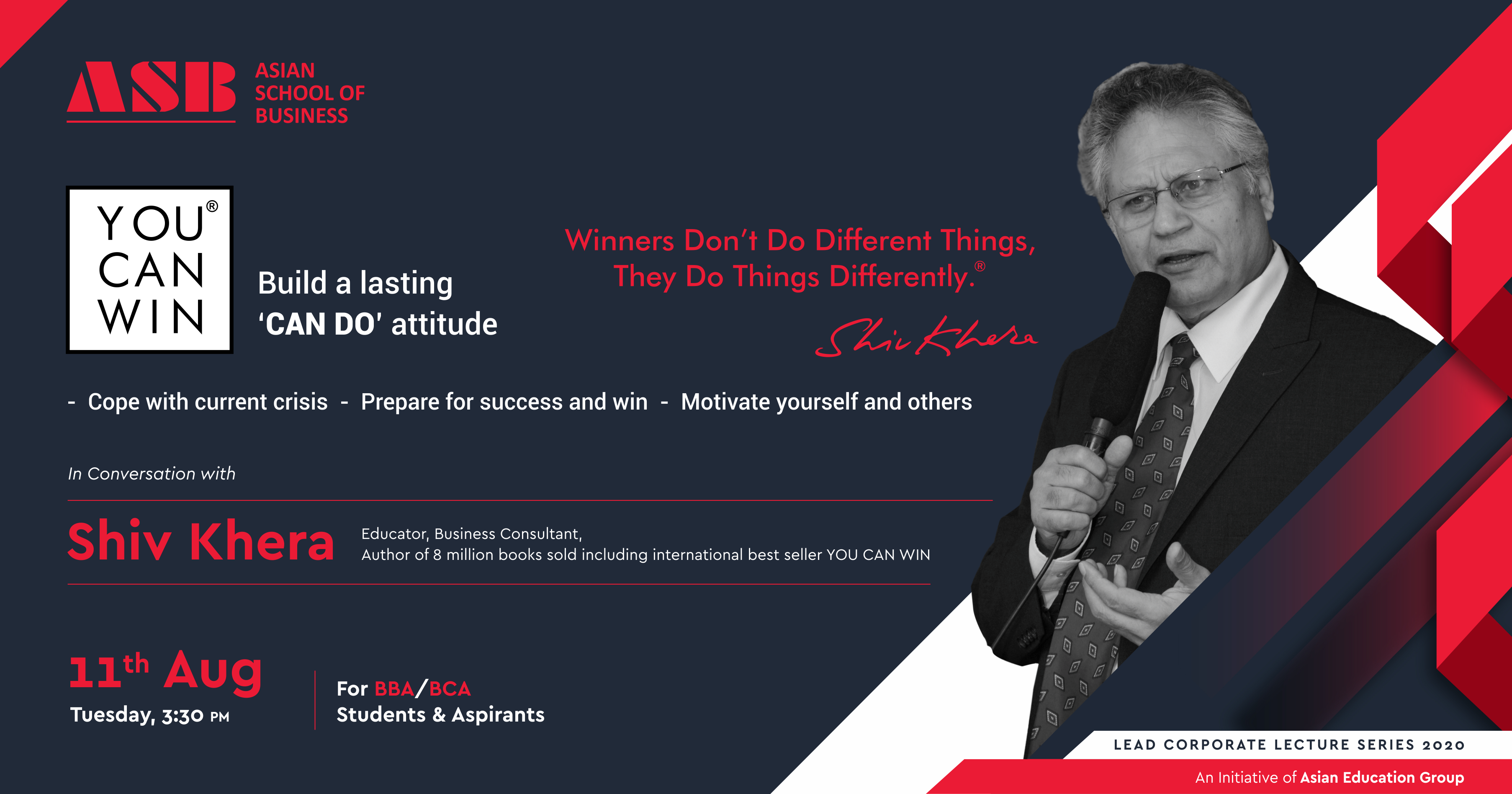 """ASB to Host Shiv Khera of International Best Seller """"You Can Win"""" Fame for an Interactive Webinar on """"Building a Lasting CAN DO Attitude"""""""
