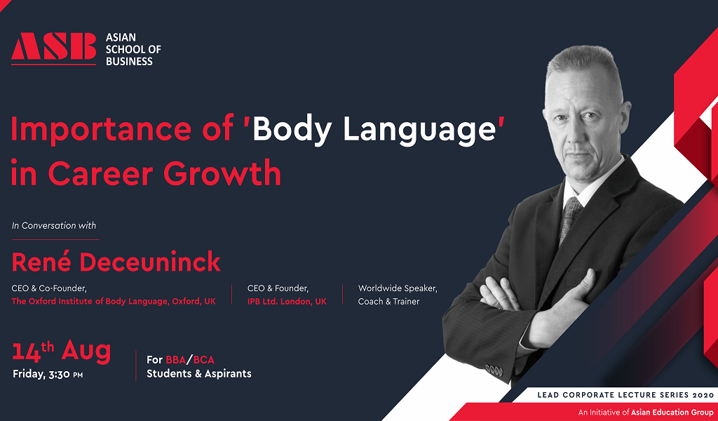 ASB to Host an Interactive WEBINAR on 'Importance of Body Language in Career Growth' with René Deceuninck