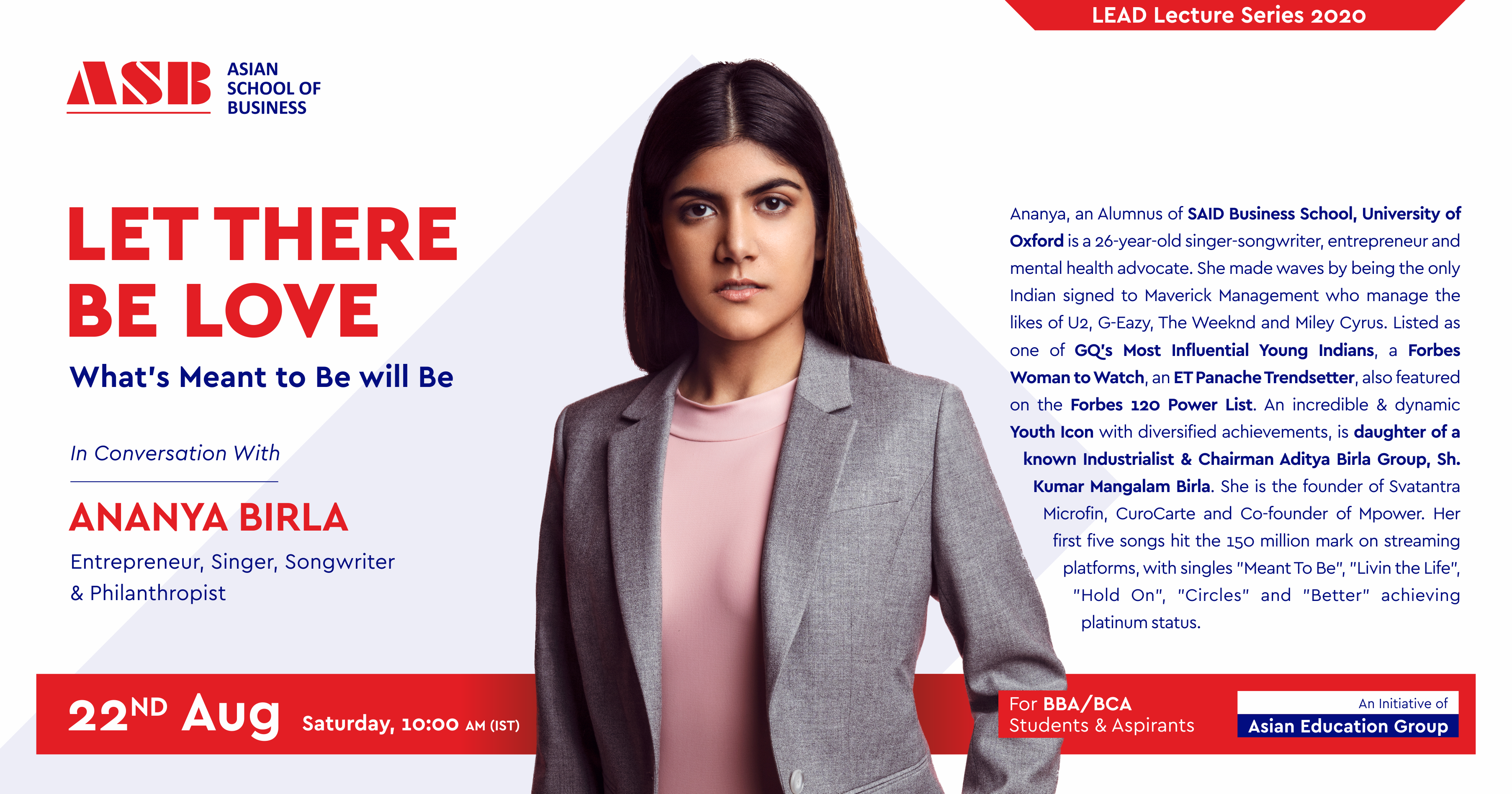 "ASB Live Interactive Session with the ""Youth Icon"" Ananya Birla"