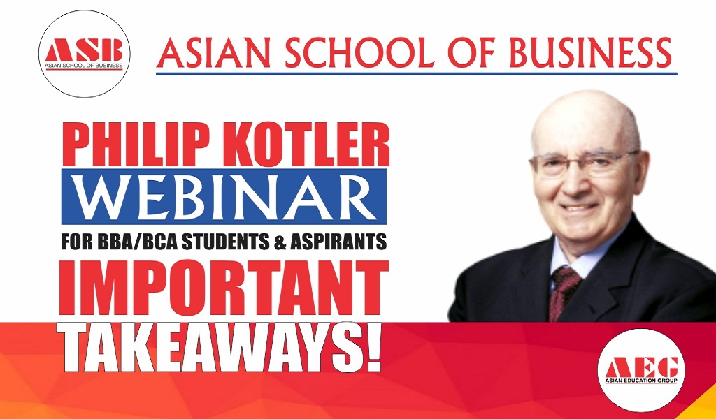 "PROF. PHILIP KOTLER – ""The Father of Marketing"" – offers a most insightful Live Session on ""COVID-19 Pandemic Impact on Marketing"" for ASB BBA/BCA Students!"