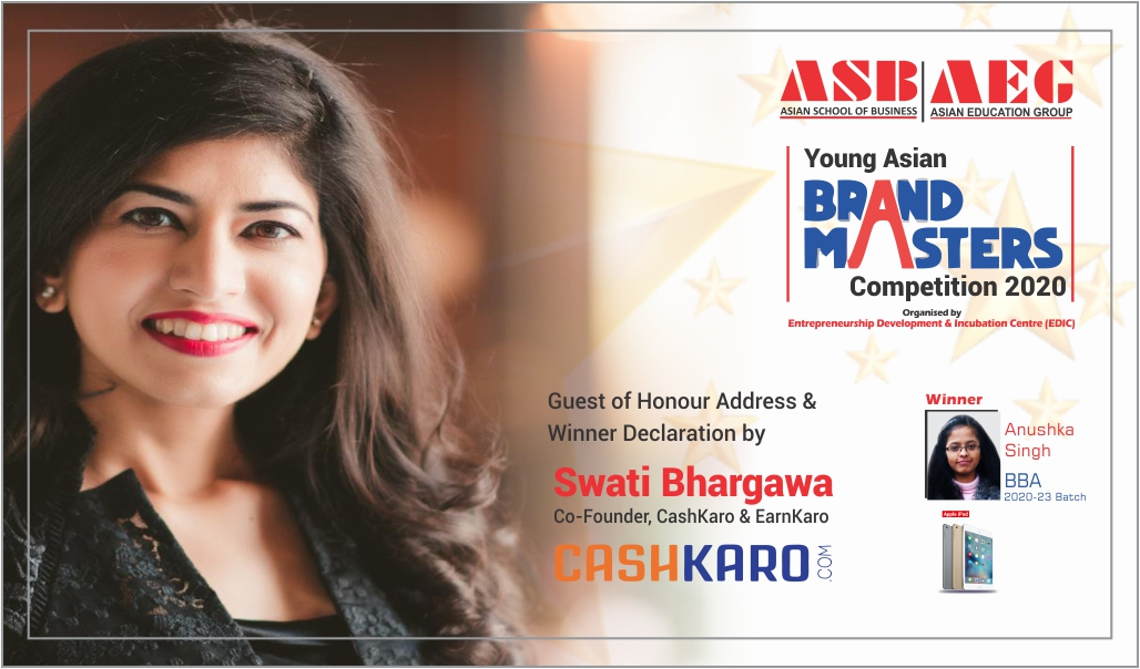 "Ms. Swati Bhargava, Co-Founder CashKaro picks up the winner of ""Young Asian Brand Masters Competition 2020"" at the ASB Orientation Programme 2020!"