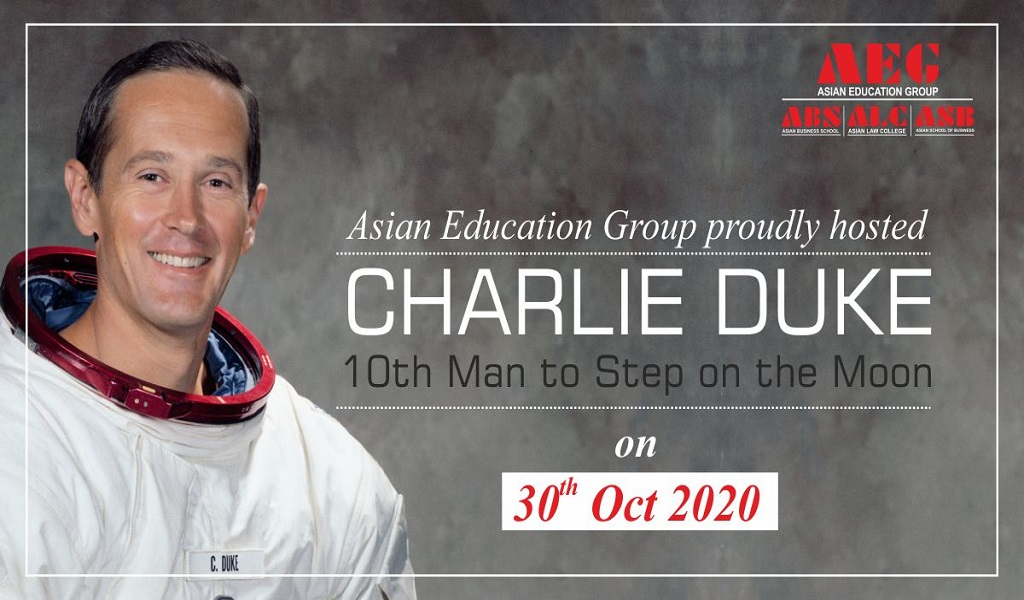 "Mr. Charlie Duke – ""The 10th Man to Walk on the Moon"" – brings alive his fascinating experiences for ASB BBA/BCA students by way of a live session!"