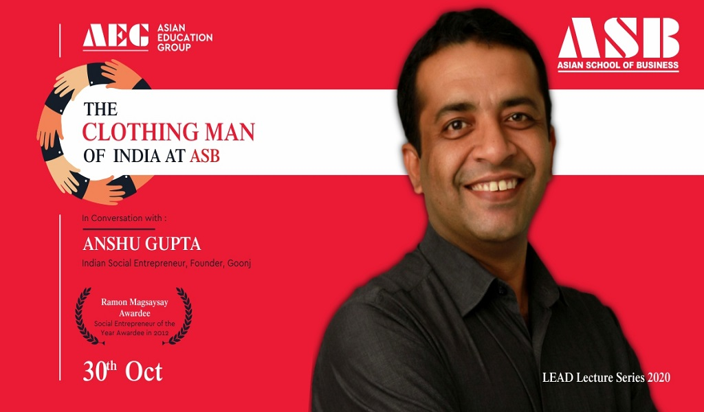 "Mr. Anshu Gupta – ""THE CLOTHING MAN OF INDIA"" – delivers a most moving live webinar session for ASB BBA/BCA students!"