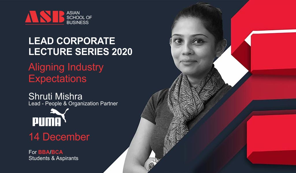 "Ms. SHRUTI MISHRA, Lead-People & Organization Partner, PUMA Group delivers an outstanding live session on ""ALIGNING INDUSTRY EXPECTATIONS"" for ASB BBA/BCA students!"