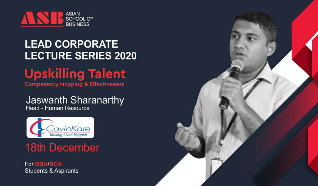 "MR. JASWANTH SHARANARTHY, Head-Learning, Talent & OD, CavinKare offers a highly relevant & informative live session on ""Upskilling Talent (Competency Mapping & Effectiveness)"" for ASB BBA/BCA students!"