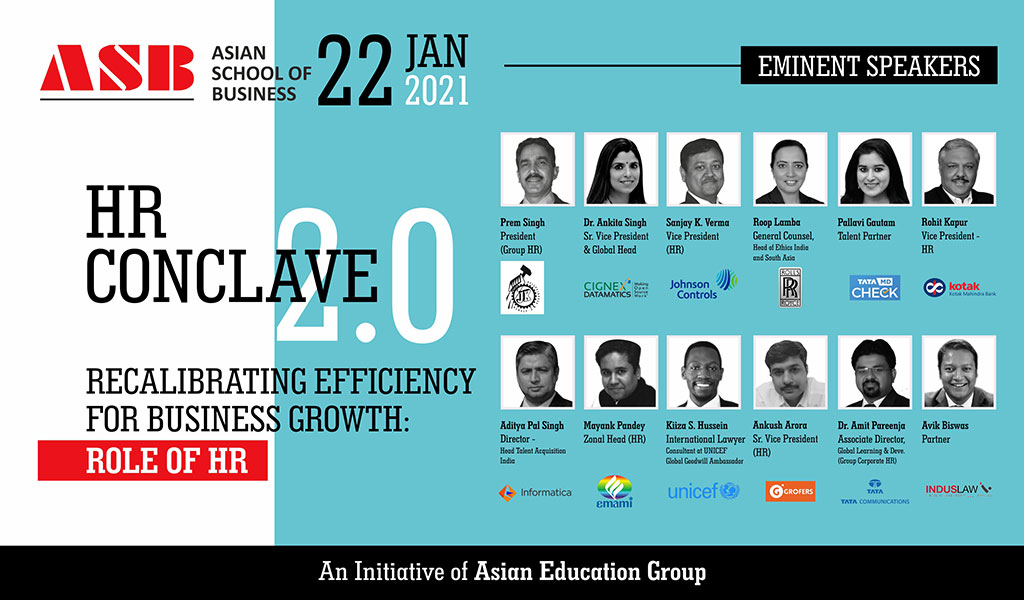 Asian School of Business (ASB) to host a high-pitched human resource meet, 'AEG HR CONCLAVE 2.0' on Friday, 22nd January 2021!